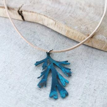 Blue Patina Kelp Copper Pendant