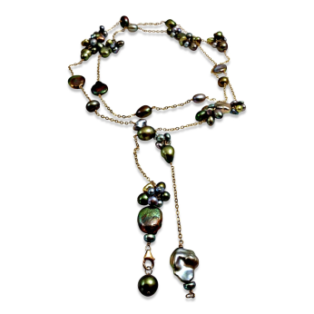 Green Pearl Textured Long Lariat Necklace