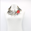 Upcycled plastic bottles - Ladder Necklace with Poppy brooch-Red