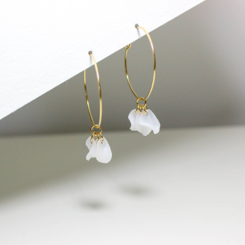 Emma White Hoops / Sustainable Recycled Earrings