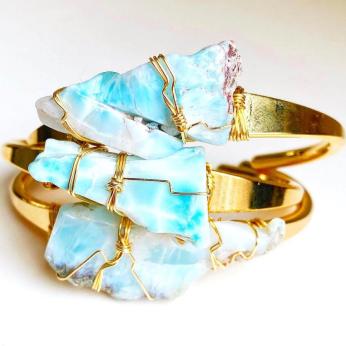 Turquoise Larimar Crystal Cuff