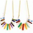 Rainbow Fan Crystal Statement Necklace