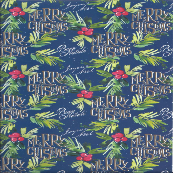 Navy Christmas Wrapping Paper by KARTOS