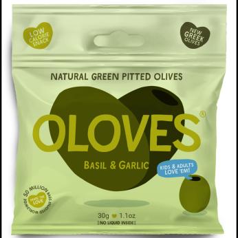 Oloves - Basil & Garlic Pitted Green Olives 1.1oz