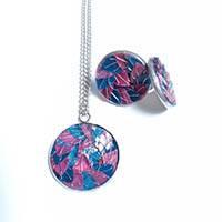 necklace set + stainless steel earrings bluerose