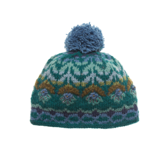 Cozy Floral Hat - Teal