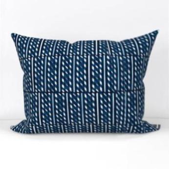 Slant Block Stripes Lumbar Pillow, Indigo