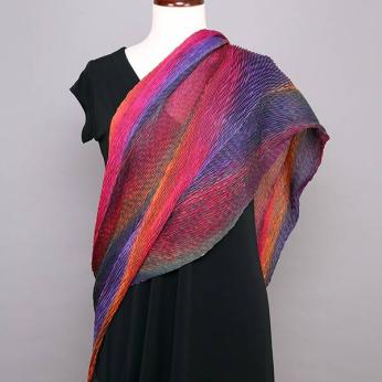 Silk Shibori Shawl, , Sunset,STA-303