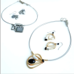 12.Handmade Jewelry - WIRE NECKLACE 16''+3'' & EARRING SETS (GY)