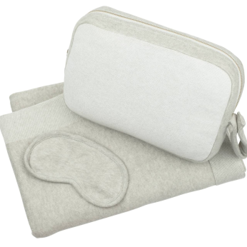 Adult Blanket with pouch and eye mask - Reversible Solid - Lt beige/Ivory