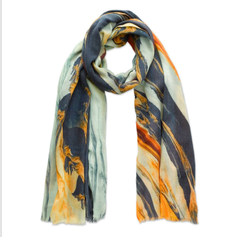 Blue & Orange Paint Mix Swirl