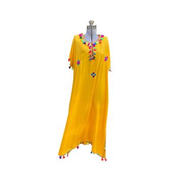 Moroccan Women's Lightweight Cotton Kaftan Dress with Pompoms