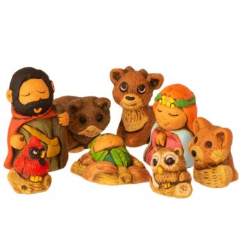 Woodsy Nativity - Ceramic Petite Set of 9
