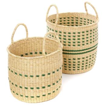 Set of Two Garden Flecked Elephant Grass Baskets