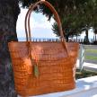 SANTHIA Crocodile Skin Handbag