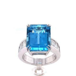 Emerald-Cut Aquamarine Baguette Diamond Ring