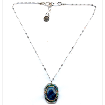 Apatite and Chrysocolla Cameo Necklace