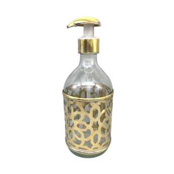 Moroccan Glass 200ml Soap Bottle with Pump - Hand-Cut Metal Decoration