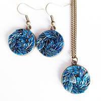 necklace set + earrings Copper - blue
