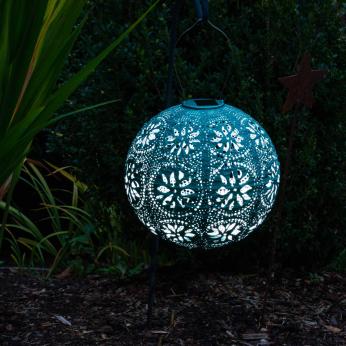Soji Stella – Boho Globe – 12″ Tyvek Solar Lantern - Mineral Green - Patio & Garden Lighting / Decoration