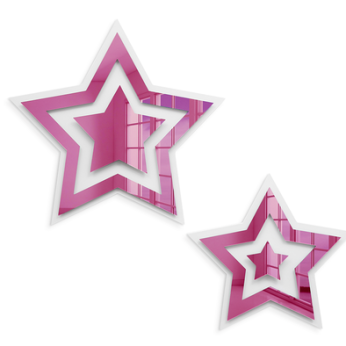 Stars 2 Piece Set | Pink Mirror and Bright White Wall Art Decor | Ready to Hang