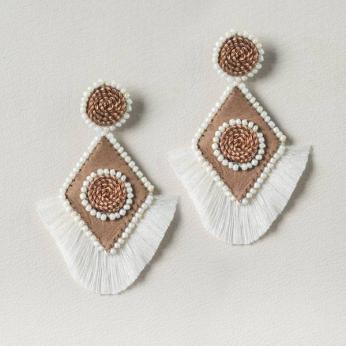 Handmade Copper Rhombus Earrings