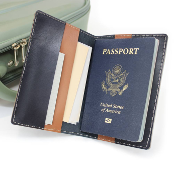 Genuine Leather Folding Passport Wallet