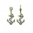 Navy Anchor Swarovski Crystal Earrings