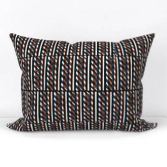 Slant Block Stripes Lumbar Pillow, Terracotta