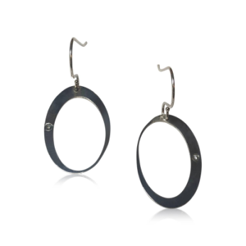 """""""Crescent Moon and a Star"""" Oval Dangle Earrings."""