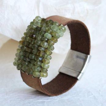 Green Garnet & Leather and Magnetic Bracelet