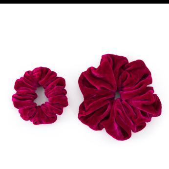Velvet Scrunchies set   Fuchsia