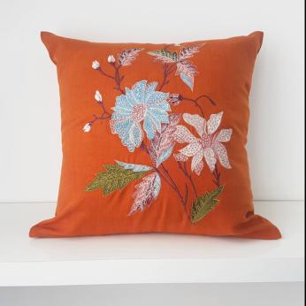 Orange Floral Cushion Cover