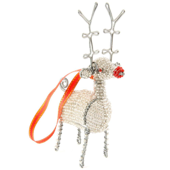 Beaded Wire Holiday Reindeer Ornaments
