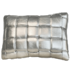 Koff Mini Woven Leather Accent Pillow  – Silver