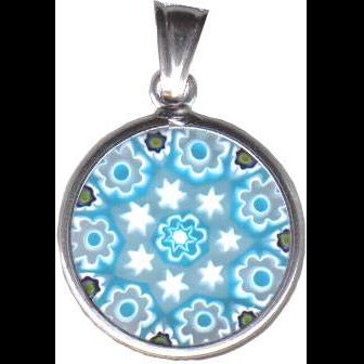 Venetian Glass Silver Pendant, Medium