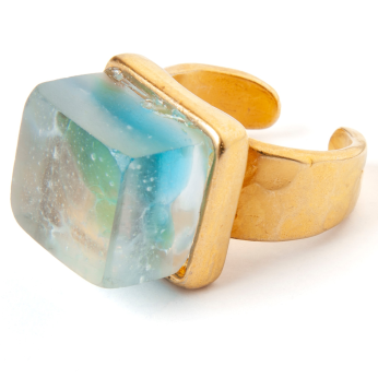 Recycled Glass Adjustable Ring with Gold Plated Pewter Band