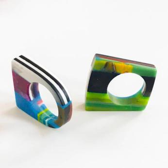 Poly Resin Bauhaus Mosaic Rings - Flat