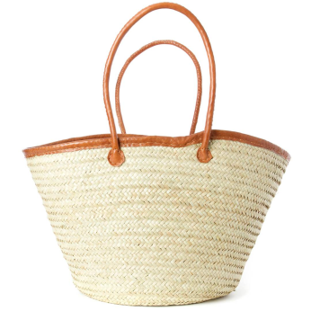 Large Fine Weave Palm Shopper with Leather Trim