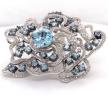 Organic Aquamarine Diamond Flower Brooch