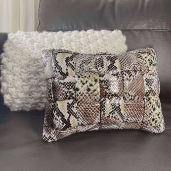 Koff Mini Woven Leather Accent Pillow  – Python