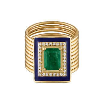 Emerald Diamond Harem Ring