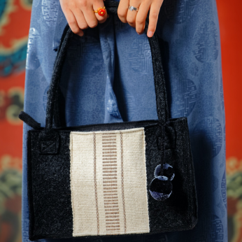 Anthracite Felt Wool Purse with Hand Woven Textile Decoration (0036A)