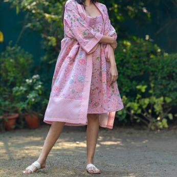 Malabar Blush Kimono & Olivia
