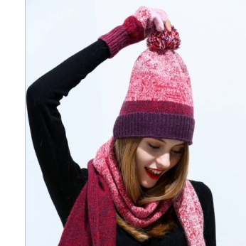 Lambswool Knitted Ombre Scarf/Hat/Glove Set (3 Colors)