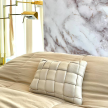 Koff Mini Woven Leather Accent Pillow  – Bone