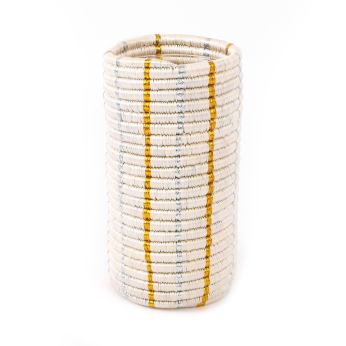 Gold + Silver Metallic Striped Vase with Glass Insert