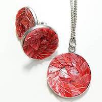 necklace set + stainless steel earrings salmonorange