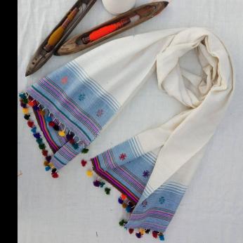 handspun handwoven extra weft scarf 1