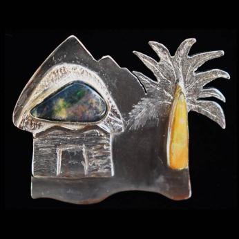 Caribbean landscape pendant with natural opals